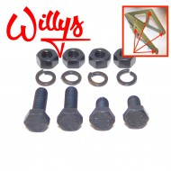 Set 4 boulons fixation support roue secours - Willys