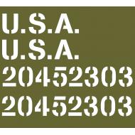 kit pochoirs marquage USA + numéros de capot
