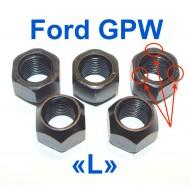 Écrou serrage roue sur tambour - Pas à Gauche - Ford GPW