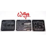 Jeu plaques identification zinc  - Willys