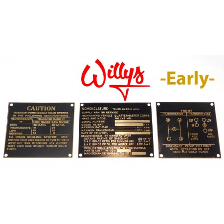 Jeu plaques identification laiton - Early Willys