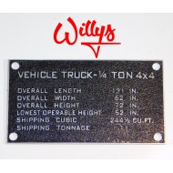 "Plaque ""shipping"" - Willys"