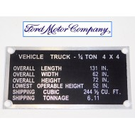 "Plaque ""shipping"" - Ford"